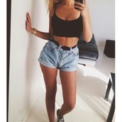 shorts,jeans,High waisted shorts,top,selfie,summer,belt,t-shirt,no sleeves,short sleeve t-shirt,crop tops,black,black top,blue jeans,blue shorts,vintage,converse,tanned girl