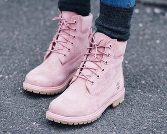 shoes cuteness pastel pink cute timberlands boots fashion toast