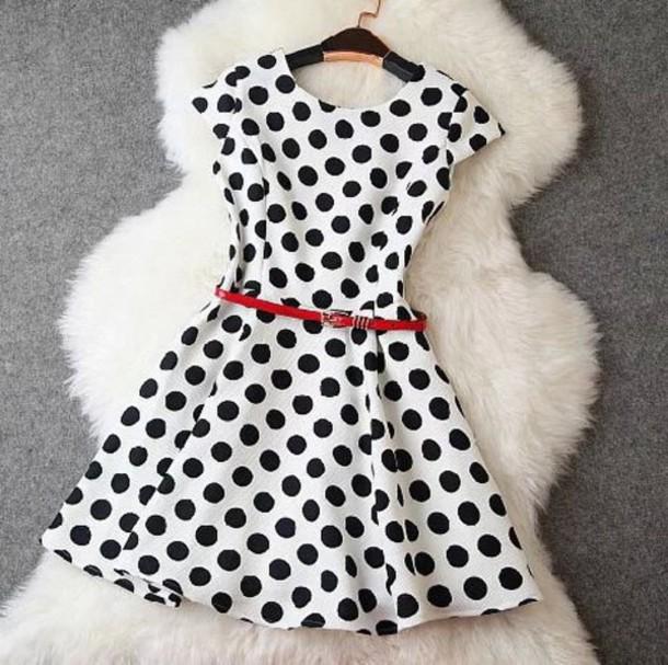 dress beautiful white black pois