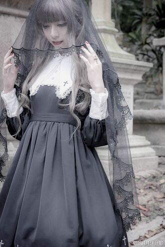 dress goth lolita gothic lolita lace cross girl cute black black dress pale