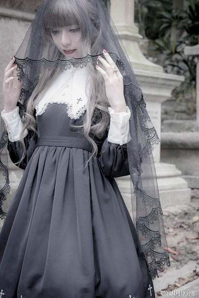 dress goth goth lolita gothic lolita lace cross girl cute black black dress pale