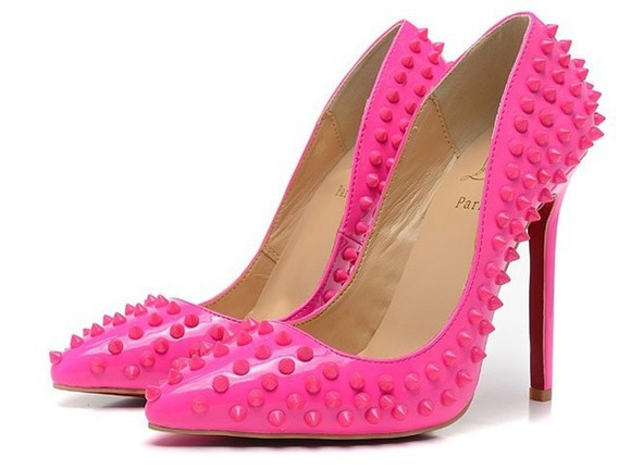 shoes christian louboutin high heels sexy pink hot pink spike platform