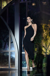 dress,black dress,midi dress,asymmetrical,asymmetrical dress,runway,sara sampaio,amfar,cannes,model