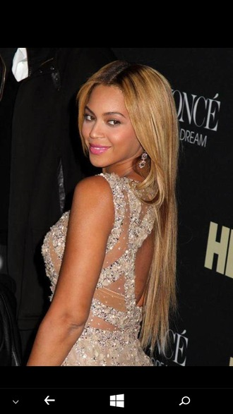 dress sparkly dress pearl beyonce balmain lipstick make-up blonde hair cut-out