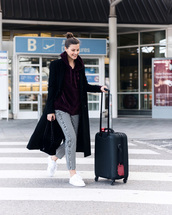 pants,tumblr,gingham,ruffle,printed pants,suitcase,airport fashion,sneakers,white sneakers,coat,black coat,hoodie,velvet,velvet top,burgundy top,burgundy
