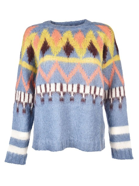8pm pullover knit blue multicolor sweater