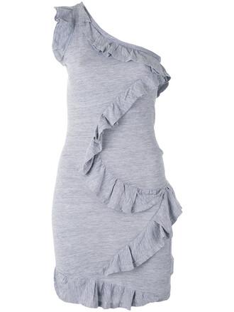 dress ruffle dress ruffle women cotton grey
