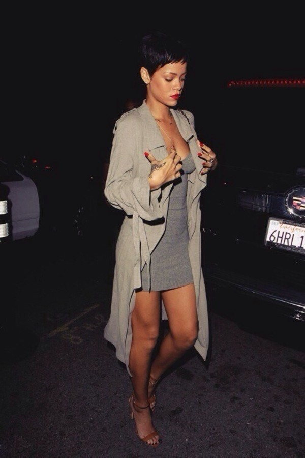 dress grey short dress rihanna coat grey trench coat jacket