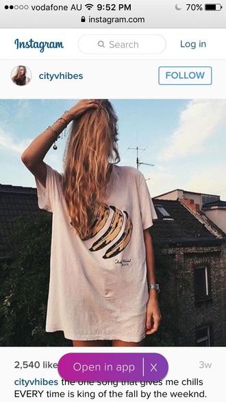 shirt oversized t-shirt banana print t-shirt dress grunge t-shirt