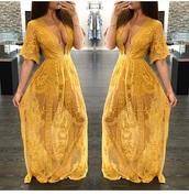 dress,maxi romper,romper dress,gold,maxi dress,romper,lace romper,romper; dress; draped; floral,yellow dress,lace dress,low cut dress