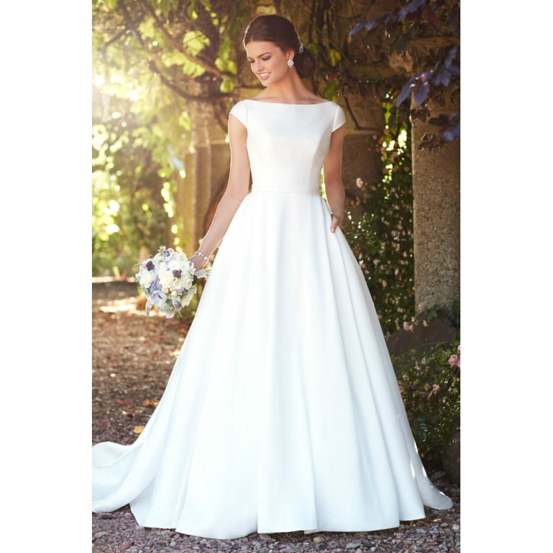 Plus-Size Dresses Style D2274 by Essense of Australia - Ivory White Mikado  Low Back Floor Bateau High Wedding Dresses - Bridesmaid Dress Online Shop