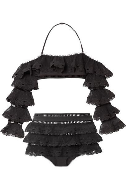 Zimmermann bikini lace bikini heart love lace black swimwear