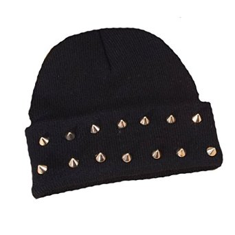Hop studded spike rivet stud knit beanie hats various colours at amazon women's clothing store: