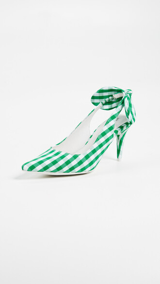 pumps gingham white green shoes