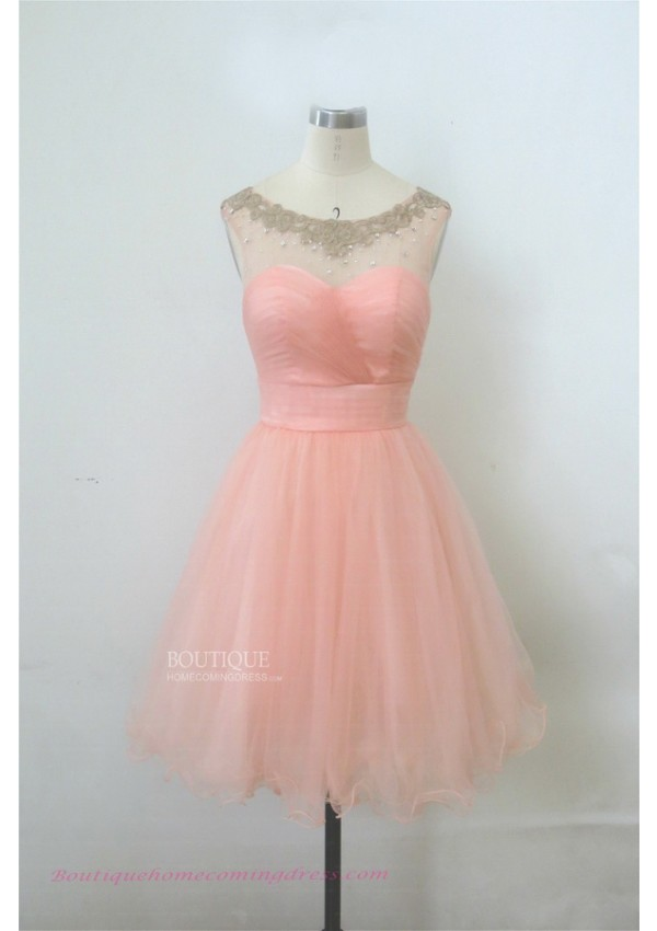 Line short/mini tulle pink homecoming dress with keyhole back