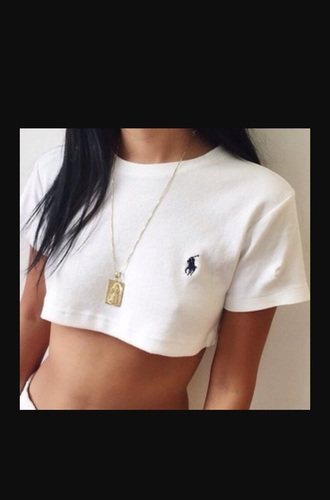 shirt white ralph lauren ralph lauren cropped top jewels gold