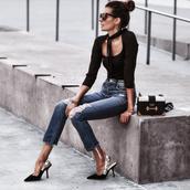 fashionedchic,blogger,top,jeans,shoes,bag,slingbacks,pumps,prada bag,black top