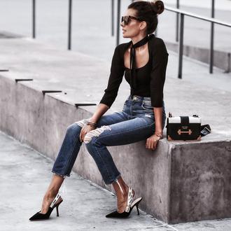 fashionedchic blogger top jeans shoes bag slingbacks pumps prada bag black top