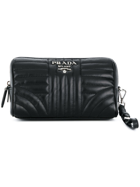 Prada women pouch leather black bag