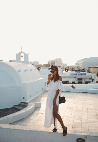 lovely pepa blogger dress shoes sunglasses bag jewels white dress off the shoulder dress long dress white long dress spring outfits