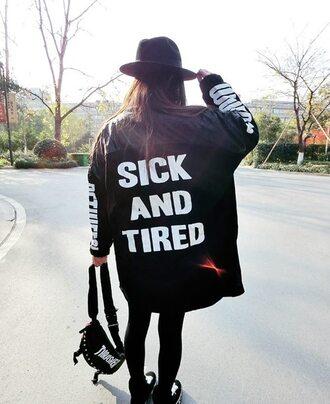 oversize black jacket white