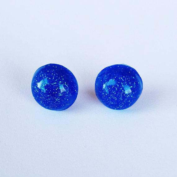 Electric Blue Glitter Resin Stud Earrings