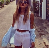 tank top,white,cotton,beautiful,shorts,blouse,coat,hat,jewels,sunglasses,round sunglasses,www.ebonylace-streetfashion.com,romper,white shorts,summer,see through,mesh,coachella,t-shirt,chapeau,shirt,jumpsuit,outfit,summer outfits,fashion,hippie,High waisted shorts,hipster,style,boho,bohemian,retro,pretty,warm,indie,alternative,boho chic,bohohippie,white crop tops,white shorts cream,plain white top,beach,tumblr outfit,top,muscle tee,denim shirt,necklace,ring,bracelets,jewelry,chiffon,karadashian,two-piece,see through top,grey,tights,lovely,sheer,fedora,white summer pants,white summer top,pants,cardigan,hair accessory,bag