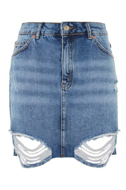 Topshop skirt mini skirt denim mini ripped
