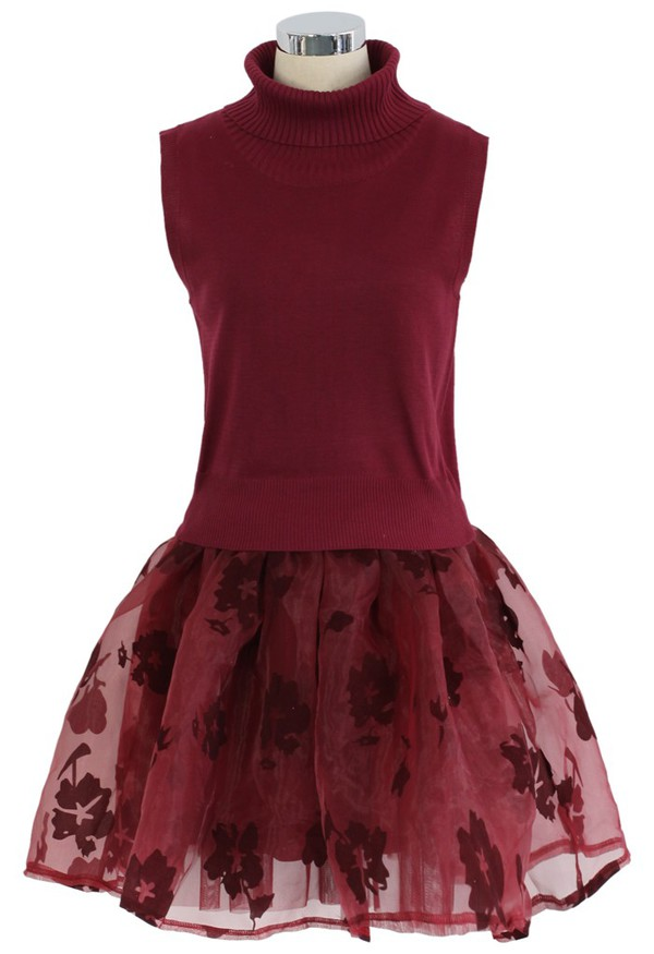 chicwish twinset organza skater dress wine