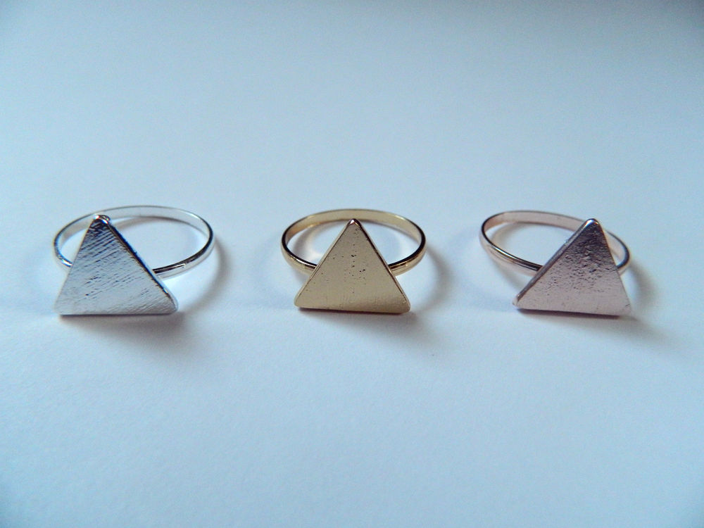 Cute Silver, Gold or Rose Gold Triangle Stacking Ring | eBay