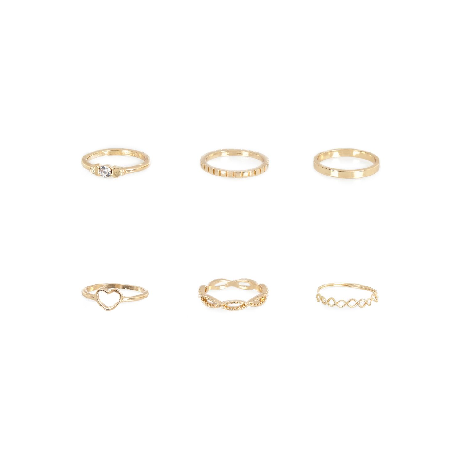 Gold tone eclectic midi ring pack