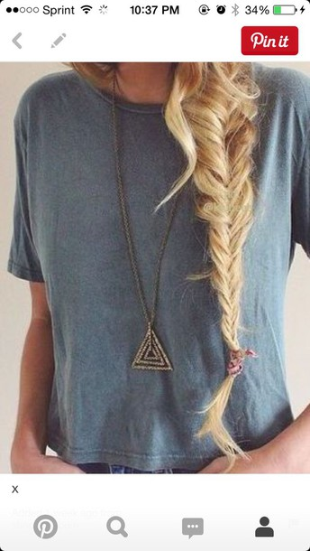 shirt short sleeve jewels necklace triangle necklace