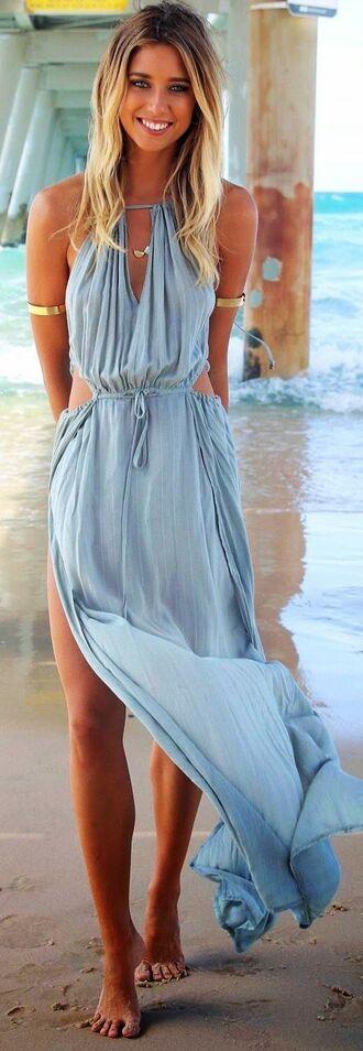 dress blue maxi dress beach summer summer dress fashion elegant