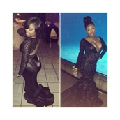 dress,black,mermaid prom dress,vcut,backless prom dress,lace dress