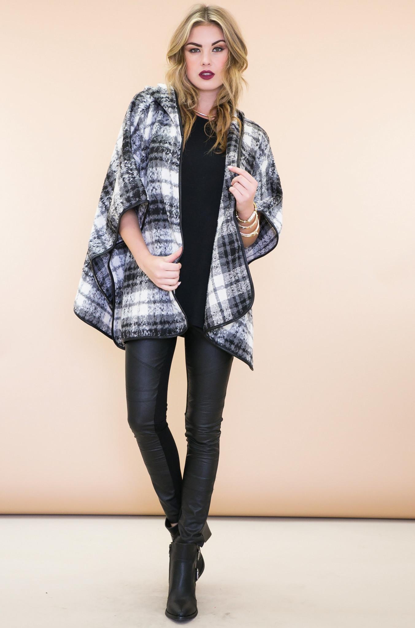 Rossan fur plaid poncho coat