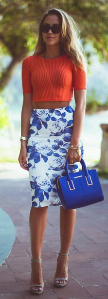 skirt top crop and skirt shoes blue and white blue white floral floral skirt midi skirt
