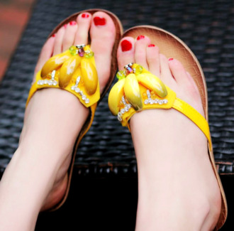 shoes banana print sandals flats yellow banana flipflops banana sandals banananananana flip-flops