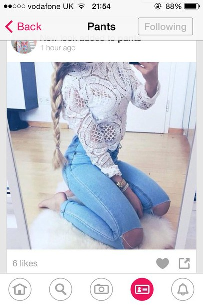 top white lace top shirt
