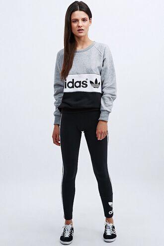 sweater adidas grey white black adidas logo crewneck fashion