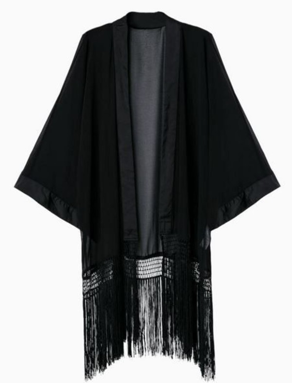 jacket kimono black kimono black chiffon bat sleeves fringed lace black fringe chiffon www.ustrendy.com