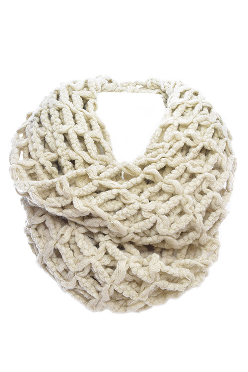 Ivory squared knit infinity scarf – betsy boo's boutique