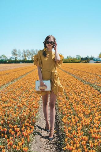 vogue haus blogger dress bag hat yellow dress dior summer dress