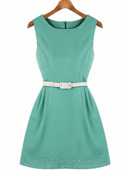 Light Green Round Neck Sleeveless Belt Chiffon Dress - HandpickLook.com