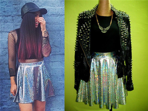 Hot selling fashion high waist hologram laser star skirt symphony bling three dimensional sheds short half length skirt-inSkirts from Apparel & Accessories on Aliexpress.com