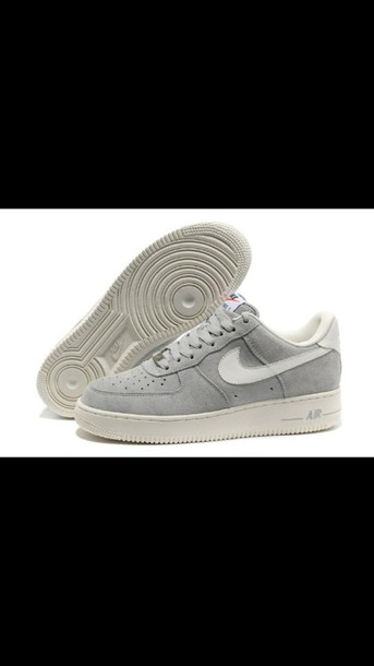 shoes nike nike air force 1 gris grey street