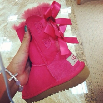shoes ugg boots hot pink sparkle bows ribbon