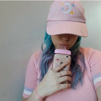 phone cover baby bottle crybaby melanie martinez cute iphone case hat pastel pastel pink moon stars cap