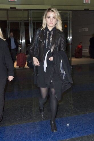 blouse all black everything skirt dianna agron jacket