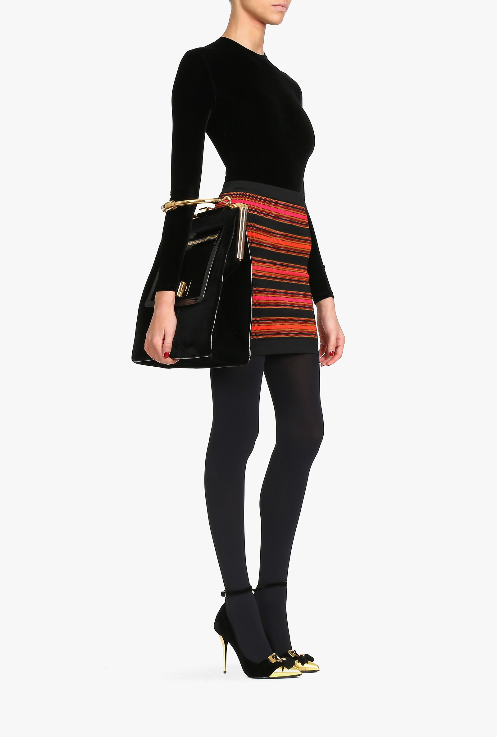 Striped stretch-knit mini skirt - Women's knit skirts