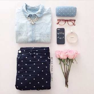 jeans polka dots navy blue cute shirt back to school denim shirt polka dots jewels
